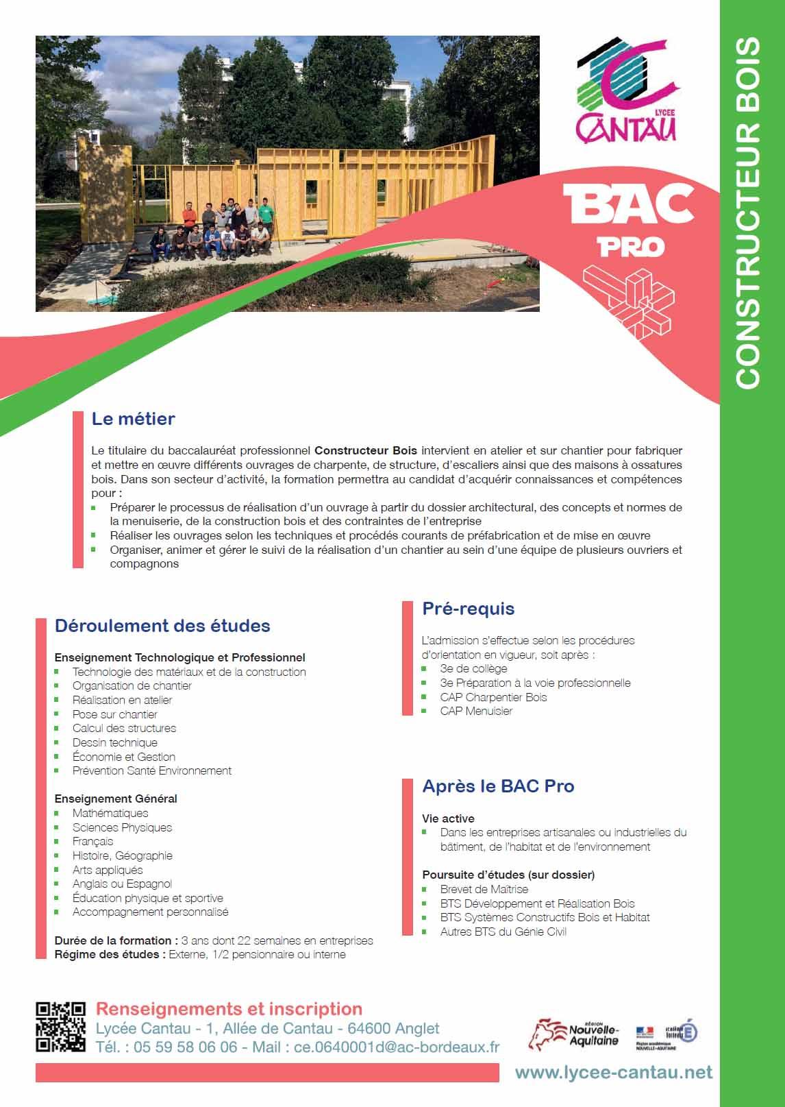 Bac Pro Constructeur Bois